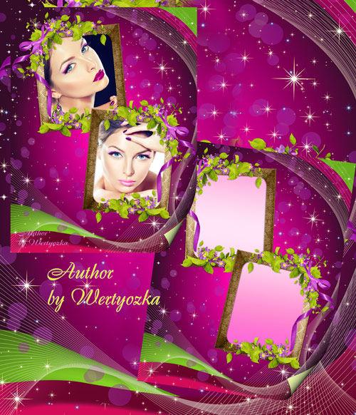Цветочная рамка для оформления двух фото в зеленых и розовых тонах