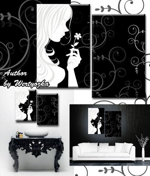 Черно-белая модульная картина диптих с девушкой и цветочком