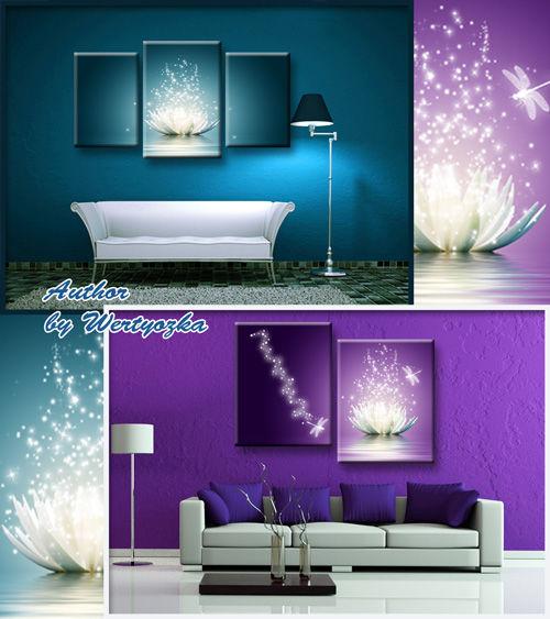Красивые сияющие картины триптих и диптих с белыми водяными лилиями