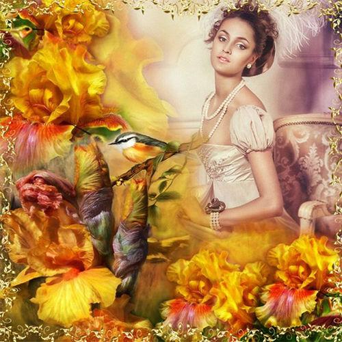 Рамка женская  ''Волшебные жёлтые цветы ''