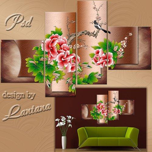 Полиптих в PSD - Сорока-белобока и цветы