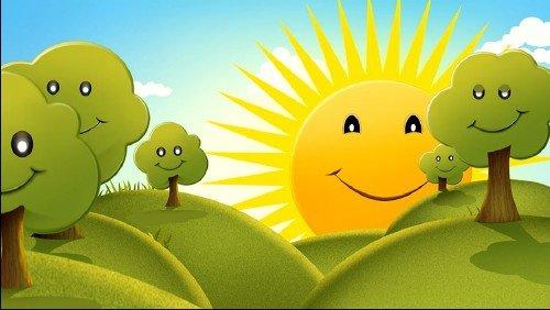 Футаж летний детский - Яркое солнышко улыбается мило