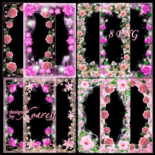 Набор романтических и гламурных рамок для фото с розовыми цветами - В розов ...