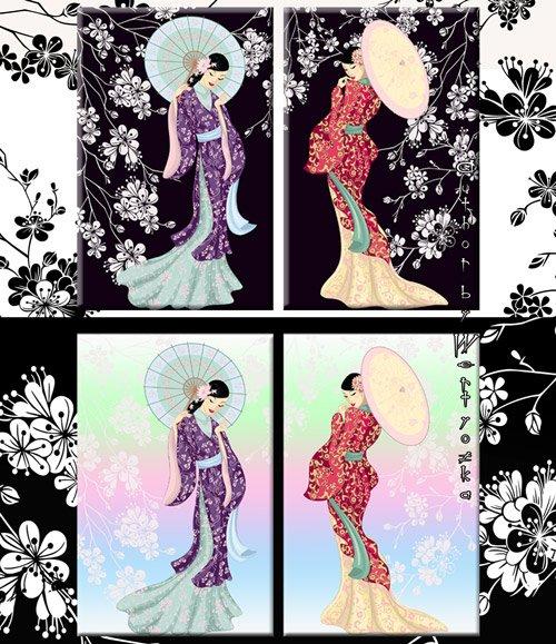 Красивые восточные девушки и нежное цветение сакуры - Диптих в psd формате