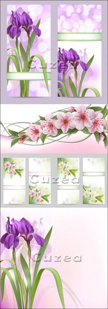 Векторные фоны с весенними цветами/ Set of spring banners with Flowers in v ...