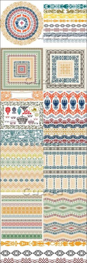 Коллекция винтажных орнаментов, часть 2/ Vintage ornaments in vector, part  ...