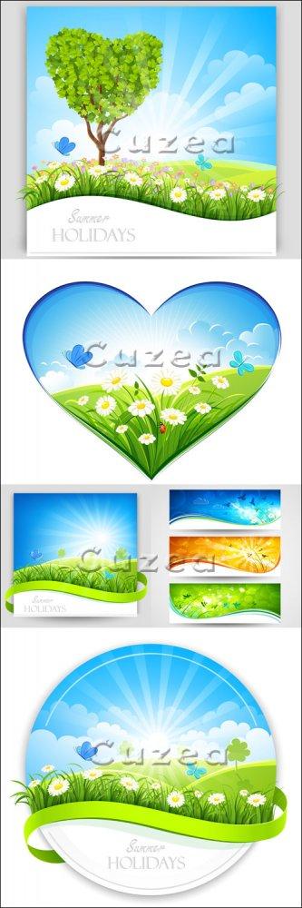 Векторные летние баннеры/ Summer nature banners in vector