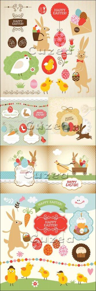 Сборник векторного клипарта к празднику Пасхи/ Easter collection, design el ...