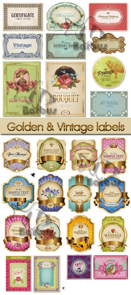 Golden and  Vintage labels / Золотые и винтажные этикетки - vector stock