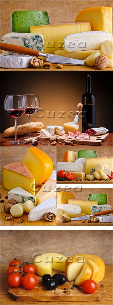 Бокалы красного вина и сорта сыра/ Glasses of red wine and cheese - Stock p ...