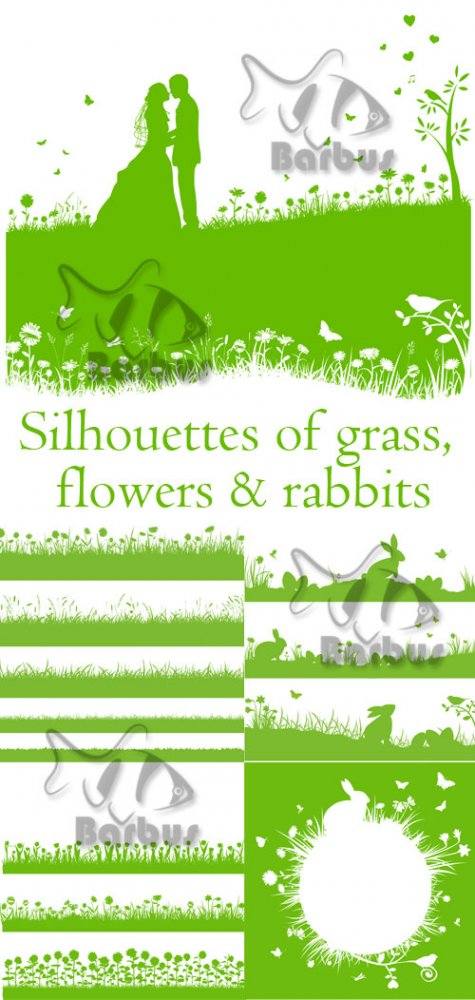 Silhouettes of grass, flowers and rabbits / Силуэты травы, цветов и кролико ...