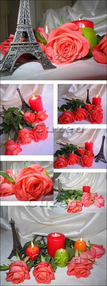 Розы, свечи и Эйфелева башня/ Roses, candles and Eiffel Tower - Stock photo