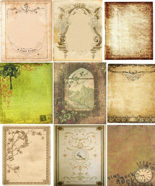 Старинные бумажные фоны с рисунками