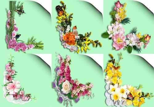 Клипарт ''Уголки с цветами и каплями росы''