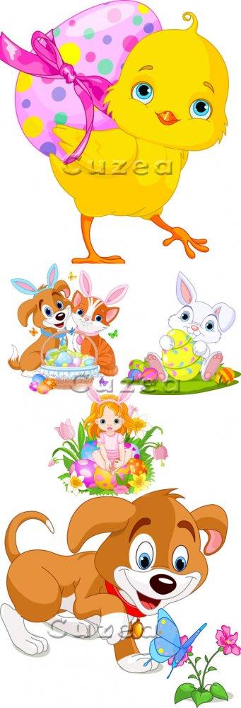 Векторный пасхальный клипарт животных и девочки/ Easter girl, animals and c ...
