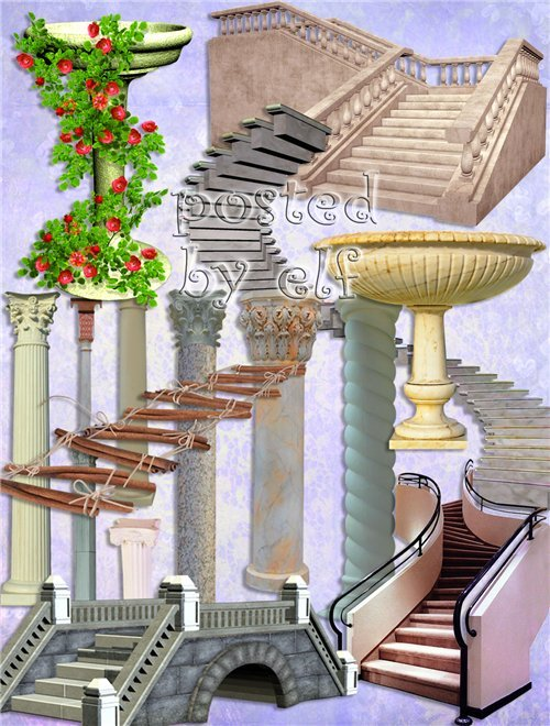 Мосты, фонтаны, лестницы, колонны на прозрачном фоне