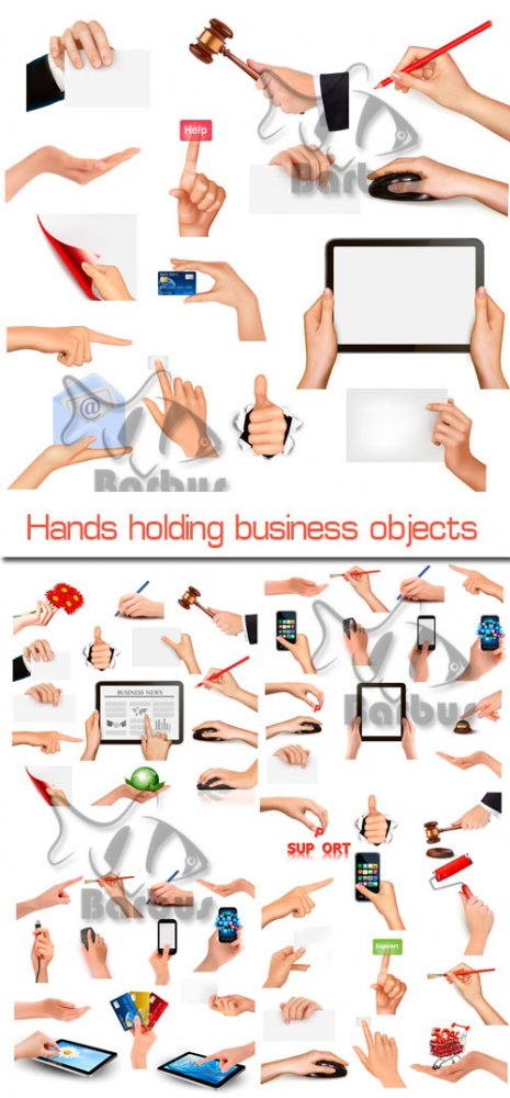 Hands holding  business objects / Руки держат бизнес предметы - Vector stock