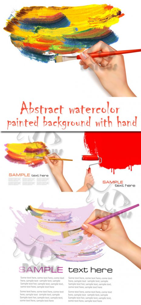 Abstract watercolor painted background with hand / Мазки краски и рука с ки ...
