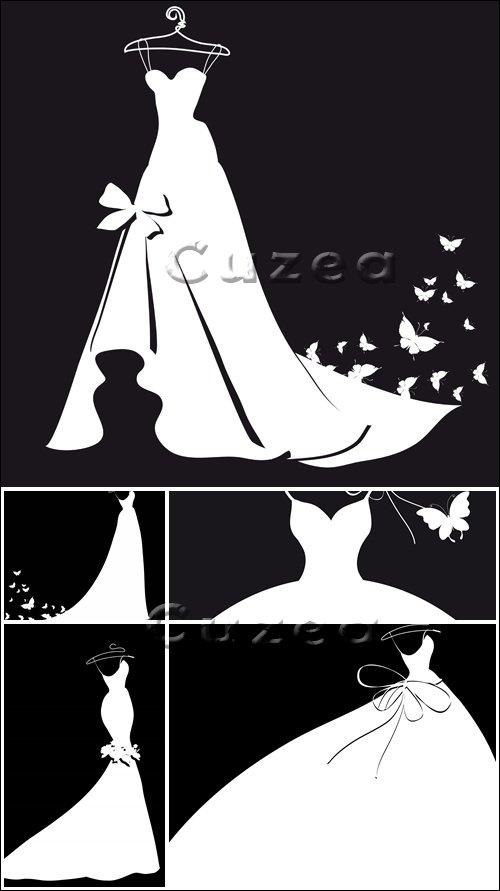 Свадебные платья в векторе Wedding dress - vector stock images
