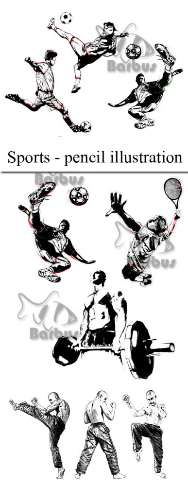 Sports - pencil illustration / Спортсмены - карандашные скетчи