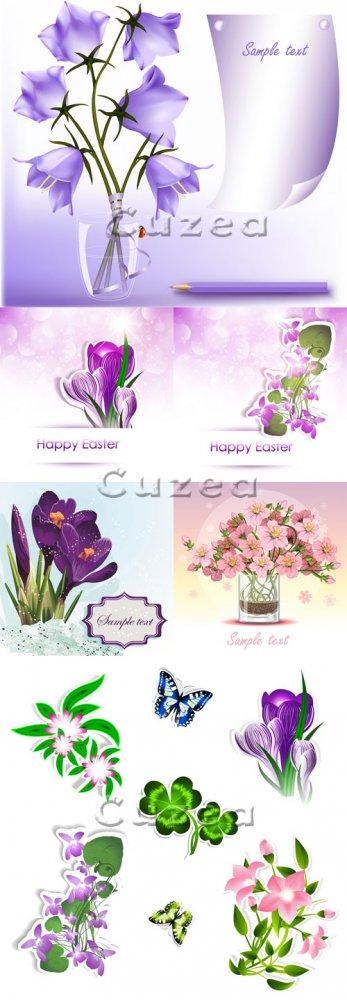 Весенние цветы к пасхе/ Spring flowers for Easter in vector