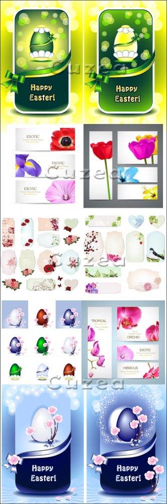 Цветочные баннеры с лентами в векторе/ Easter and floral banners with ribbo ...