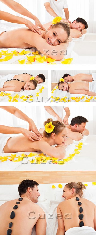 Мужчина и женщина в спа салоне/ Woman and man in the spa salon with yellow  ...