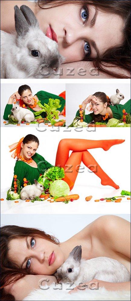Девушка и кролик/ Girl and pygmy rabbit - Stock photo