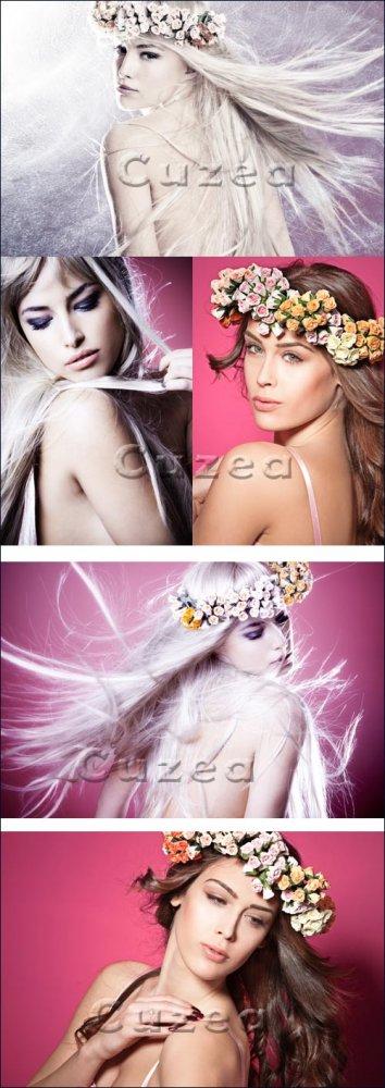 Прекрасная девушка с длинными волосами/ Beautiful girl with long hair - Sto ...