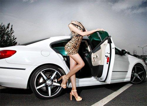 Шаблон для фотомонтажа - Фотосессия в платье у авто