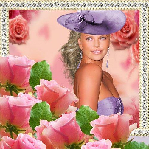 Рамка женская  ''Украшение из роз ''