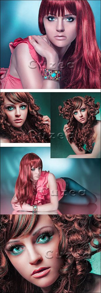 Гламурные рыжеволосые девушки/ Glaumour girls with red hair - Stock photo
