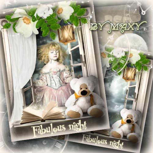Детская рамка с окном в ночь - Когда сказки оживают
