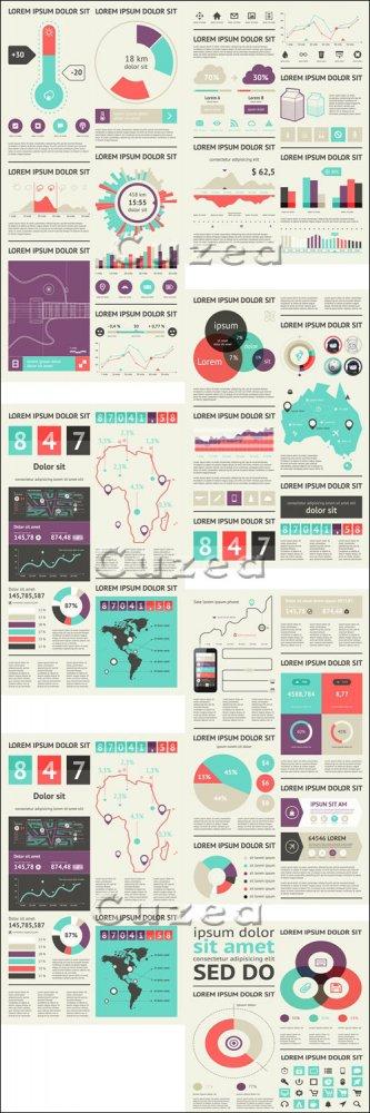 Инфографика, часть 27/ Infographics design template with numeration, part 2 ...