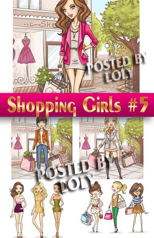 Девушки на Распродаже #5 - Векторный клипарт