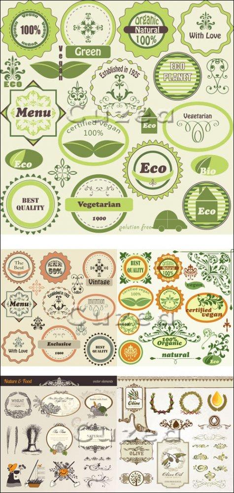 Стикера и лэйблы эко тематики в векторе/ Green labels in vector