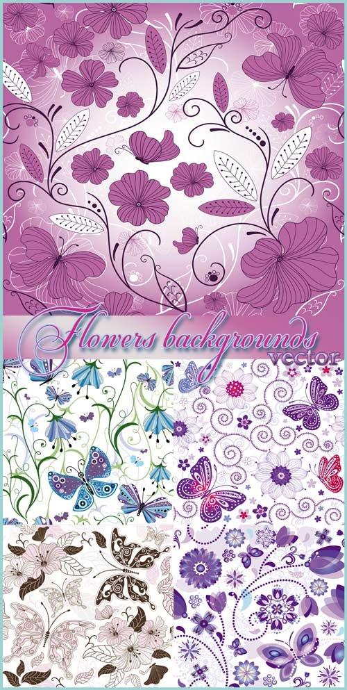 Фоны с цветами и бабочками, цветочные фоны - векторный клипарт