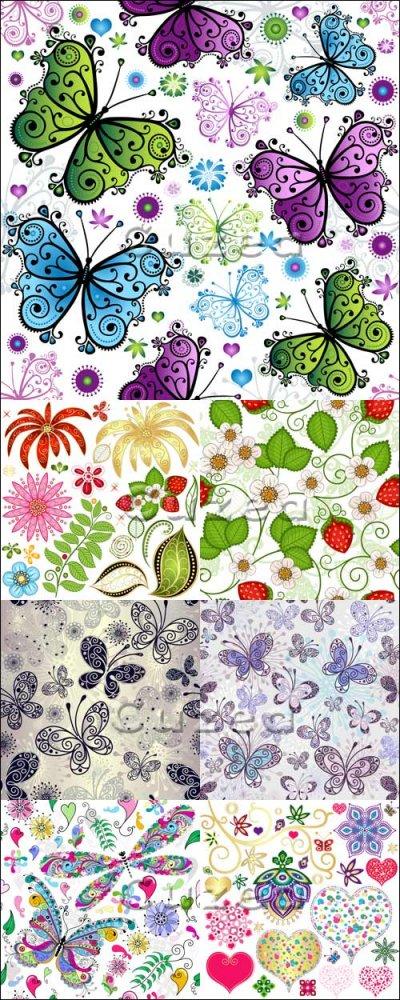 Векторные фоны с бабочками и цветами/ Background with butterflies and flowe ...