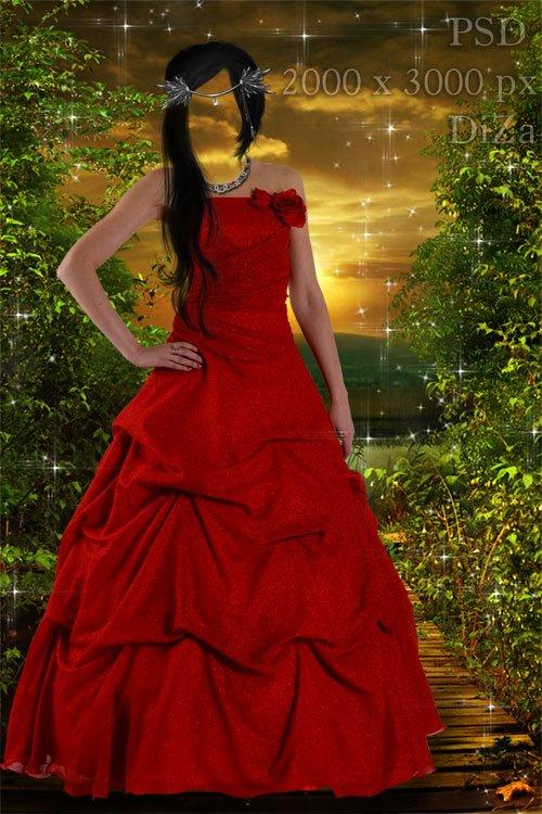 Женский шаблон Брюнетка в красном платье