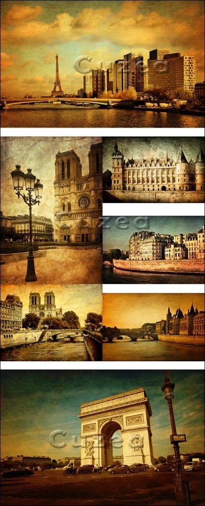 Винтажные карточки с изображениями Парижа/ Vintage cards with images of Par ...