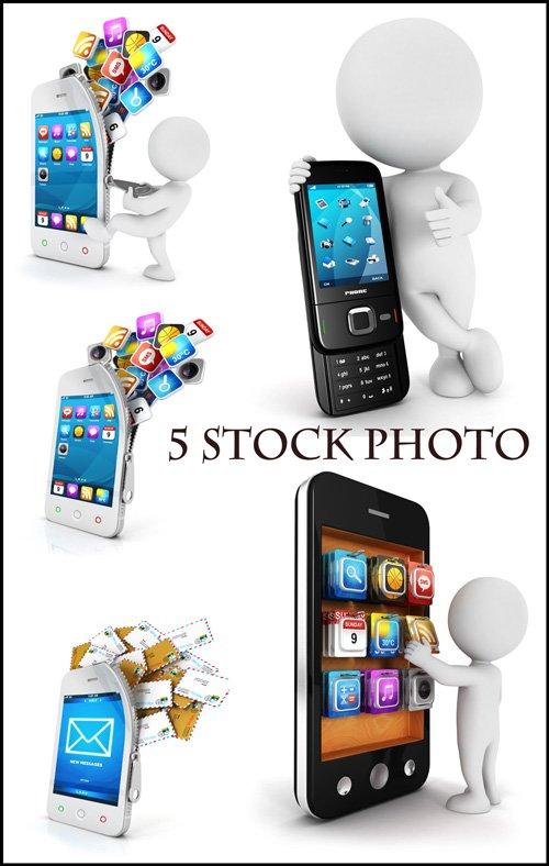 Смартфоны, 3D человечки и смартфоны - растровый клипарт