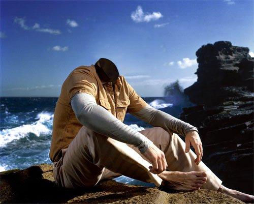 Мужской шаблон - Мужчина на обрыве возле океана