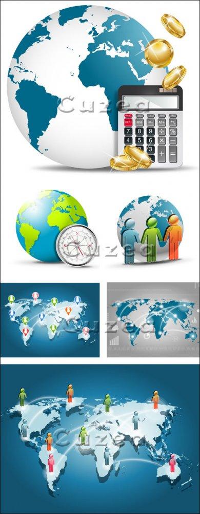 Карта, глобус, калькулятор, люди - векторный клипарт/ Map, globe and people ...