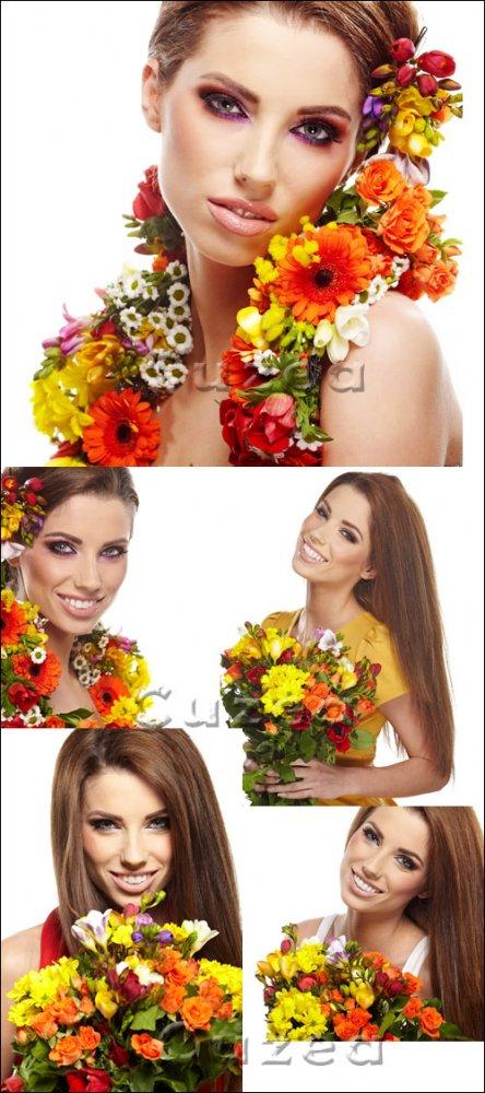 Девушка с весенними цветами/ Girl with spring flowers - Stock photo