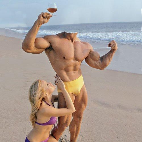 Мужской шаблон - Культурист с девушкой на пляже