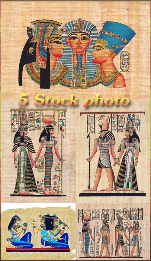 Египетские боги, рельефы, статуи, амулеты, рисунки на папирусах - растровый ...