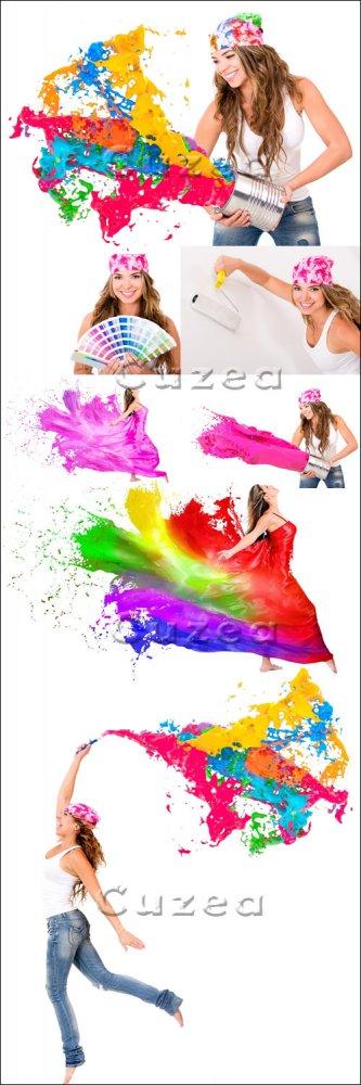 Женщина и брызги цветной краски/ Woman splashing colorful paint - Stock pho ...
