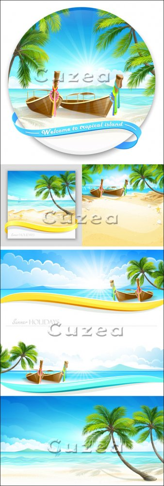 Путешествие на тропический остров - векторный клипарт/ Tropical island in v ...