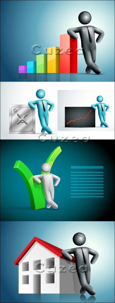 3д бизнес люди и диаграмма/ 3d business people - vector stock