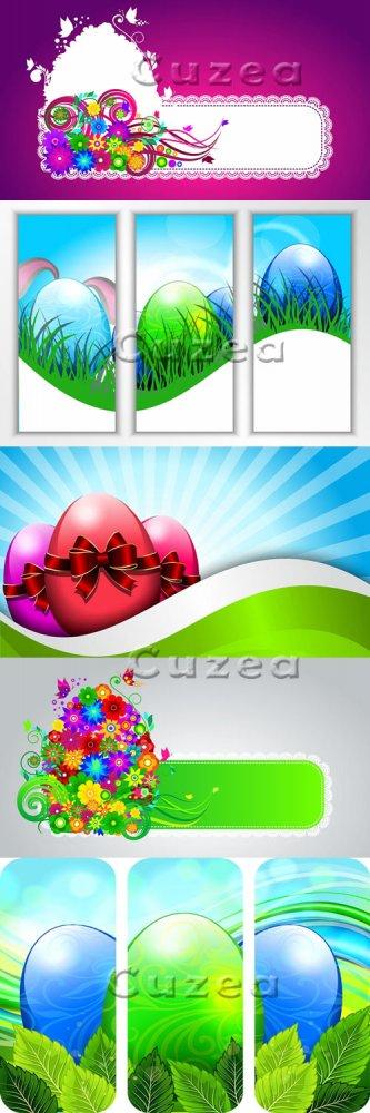 Фоны с пасхальными яйцами в векторе/ Easter egg on a colored background in  ...